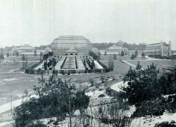 Botanic Garden Berlin-Dahlem, view of the greenhouses, 1909